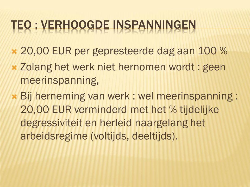  20,00 EUR per gepresteerde dag aan 100 %  Zolang het werk niet hernomen wordt : geen meerinspanning,  Bij herneming van werk : wel meerinspanning