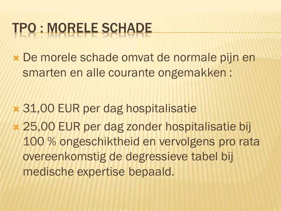  De morele schade omvat de normale pijn en smarten en alle courante ongemakken :  31,00 EUR per dag hospitalisatie  25,00 EUR per dag zonder hospit