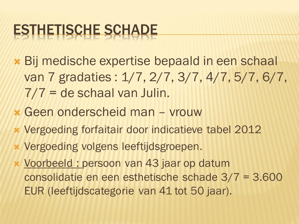  Bij medische expertise bepaald in een schaal van 7 gradaties : 1/7, 2/7, 3/7, 4/7, 5/7, 6/7, 7/7 = de schaal van Julin.  Geen onderscheid man – vro