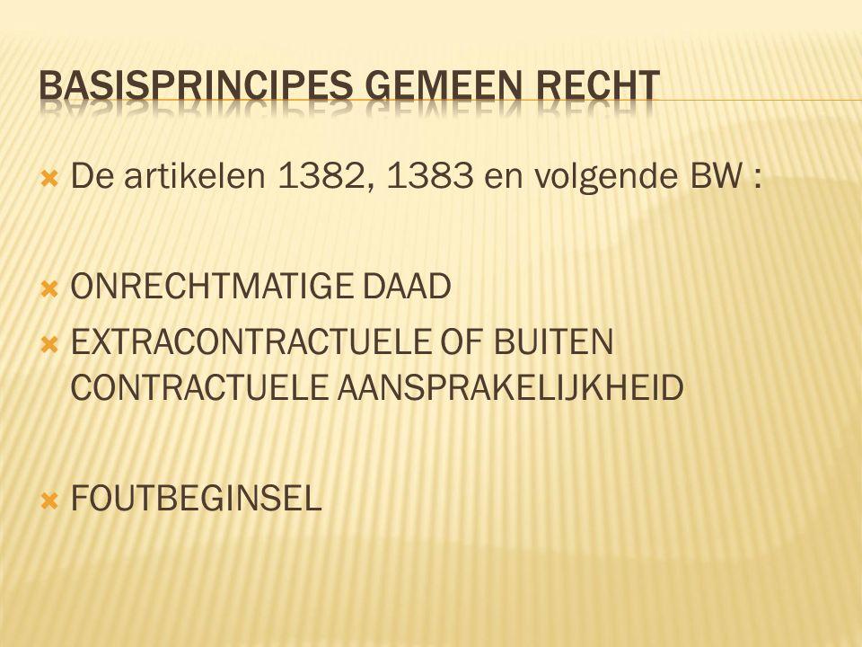  De artikelen 1382, 1383 en volgende BW :  ONRECHTMATIGE DAAD  EXTRACONTRACTUELE OF BUITEN CONTRACTUELE AANSPRAKELIJKHEID  FOUTBEGINSEL