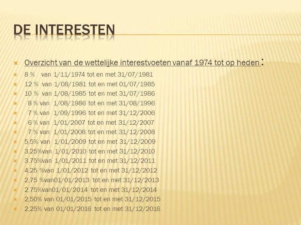  Overzicht van de wettelijke interestvoeten vanaf 1974 tot op heden :  8 % van 1/11/1974 tot en met 31/07/1981  12 % van 1/08/1981 tot en met 01/07/1985  10 % van 1/08/1985 tot en met 31/07/1986  8 % van 1/08/1986 tot en met 31/08/1996  7 % van 1/09/1996 tot en met 31/12/2006  6 % van 1/01/2007 tot en met 31/12/2007  7 % van 1/01/2008 tot en met 31/12/2008  5,5% van 1/01/2009 tot en met 31/12/2009  3,25%van 1/01/2010 tot en met 31/12/2010  3,75%van 1/01/2011 tot en met 31/12/2011  4,25 %van 1/01/2012 tot en met 31/12/2012  2,75 %van01/01/2013 tot en met 31/12/2013  2,75%van01/01/2014 tot en met 31/12/2014  2,50% van 01/01/2015 tot en met 31/12/2015  2,25% van 01/01/2016 tot en met 31/12/2016