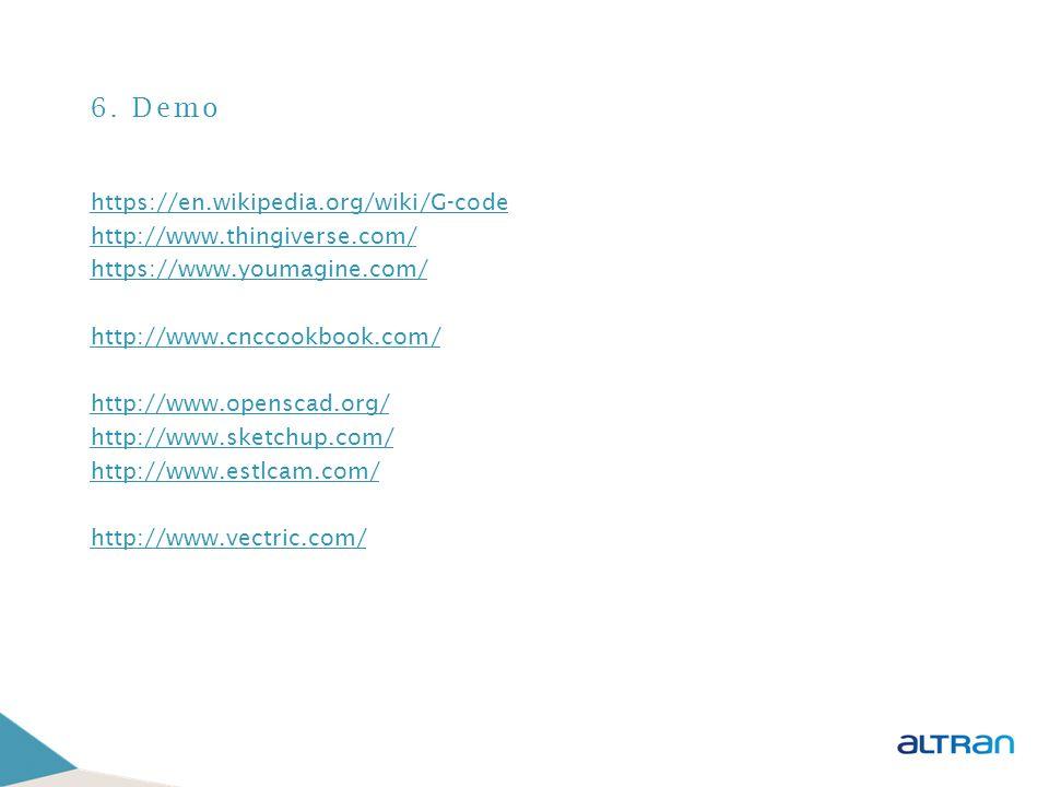 6. Demo https://en.wikipedia.org/wiki/G-code http://www.thingiverse.com/ https://www.youmagine.com/ http://www.cnccookbook.com/ http://www.openscad.or