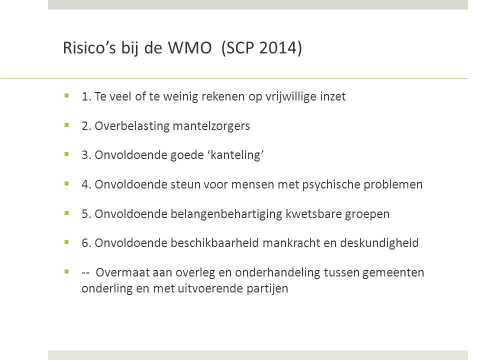 Risico's bij de WMO (SCP 2014)  1. Te veel of te weinig rekenen op vrijwillige inzet  2.