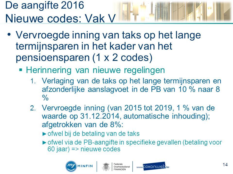 De aangifte 2016 Nieuwe codes: Vak V Vervroegde inning van taks op het lange termijnsparen in het kader van het pensioensparen (1 x 2 codes)  Herinnering van nieuwe regelingen 1.