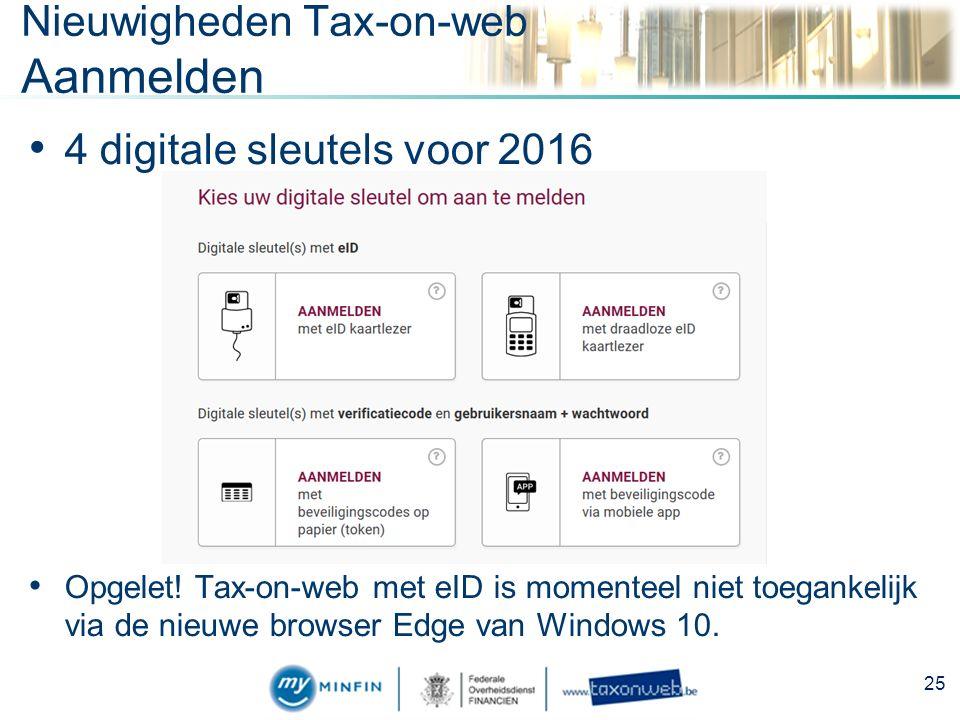 Nieuwigheden Tax-on-web Aanmelden 4 digitale sleutels voor 2016 Opgelet.