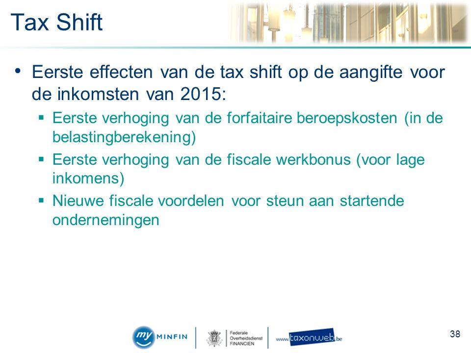 Tax Shift Eerste effecten van de tax shift op de aangifte voor de inkomsten van 2015:  Eerste verhoging van de forfaitaire beroepskosten (in de belastingberekening)  Eerste verhoging van de fiscale werkbonus (voor lage inkomens)  Nieuwe fiscale voordelen voor steun aan startende ondernemingen 38