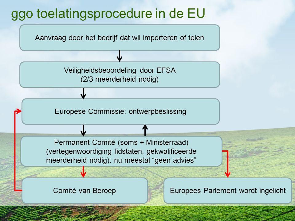 ggo toelatingsprocedure in de EU Aanvraag door het bedrijf dat wil importeren of telen Veiligheidsbeoordeling door EFSA (2/3 meerderheid nodig) Europe