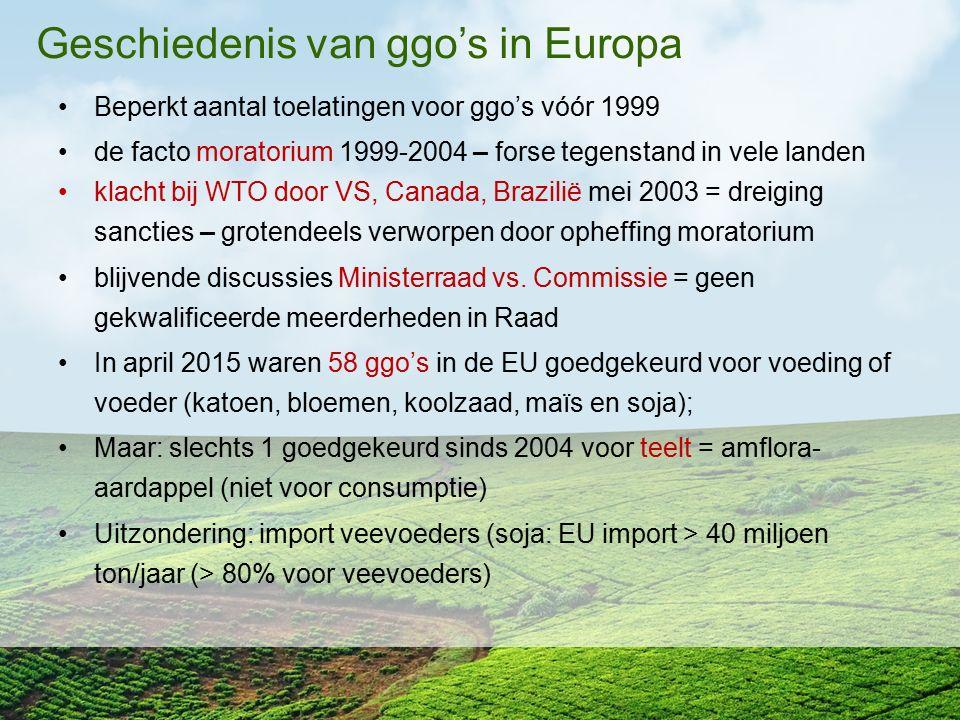 Geschiedenis van ggo's in Europa Beperkt aantal toelatingen voor ggo's vóór 1999 de facto moratorium 1999-2004 – forse tegenstand in vele landen klach