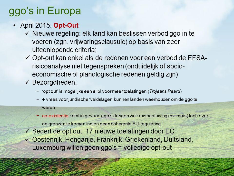 ggo's in Europa April 2015: Opt-Out Nieuwe regeling: elk land kan beslissen verbod ggo in te voeren (zgn. vrijwaringsclausule) op basis van zeer uitee