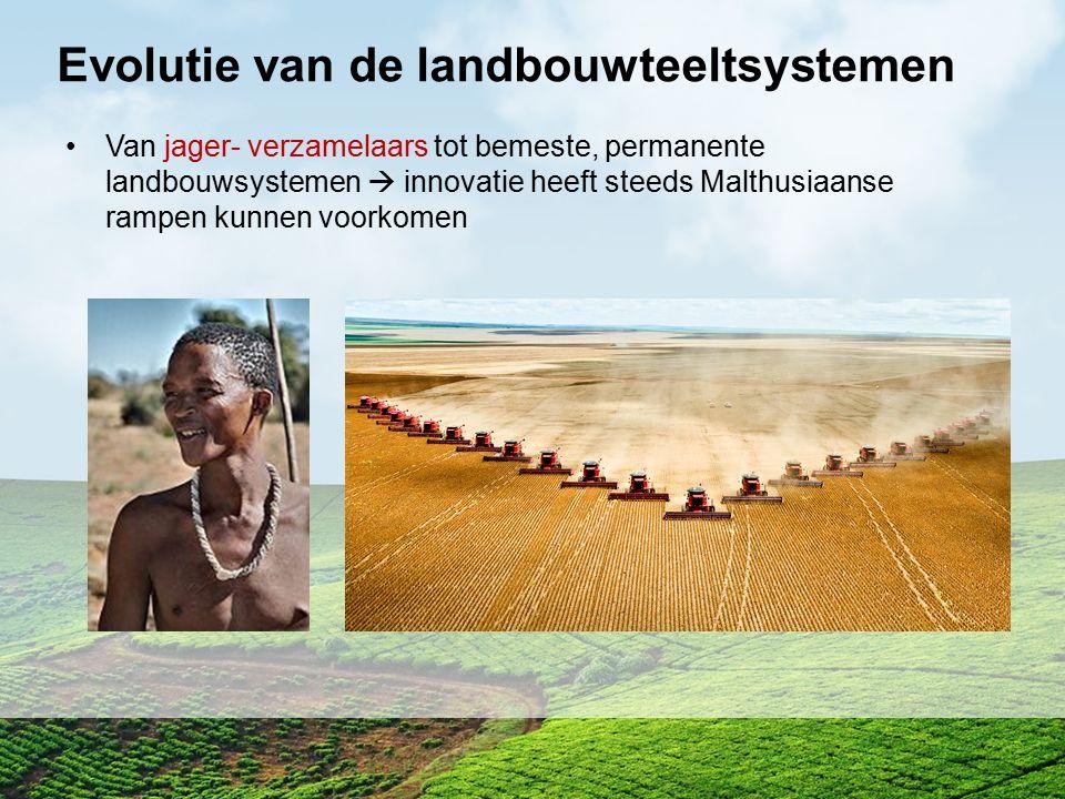 Evolutie van de landbouwteeltsystemen Van jager- verzamelaars tot bemeste, permanente landbouwsystemen  innovatie heeft steeds Malthusiaanse rampen k