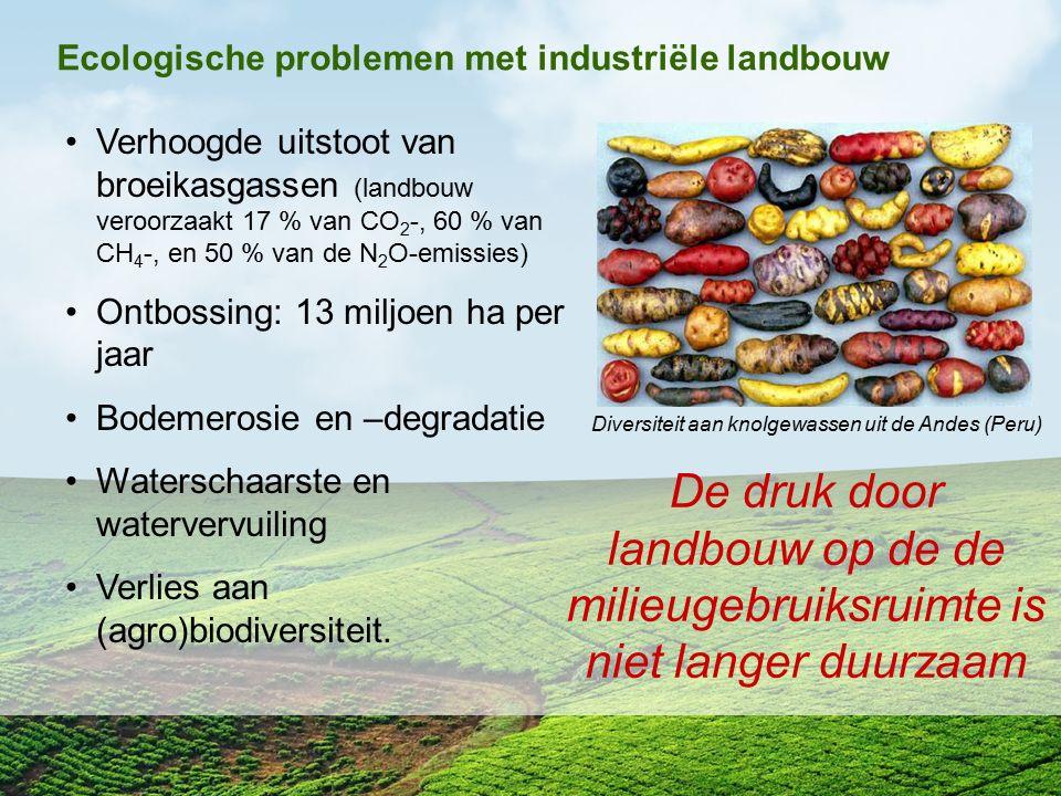 Ecologische problemen met industriële landbouw Verhoogde uitstoot van broeikasgassen (landbouw veroorzaakt 17 % van CO 2 -, 60 % van CH 4 -, en 50 % v