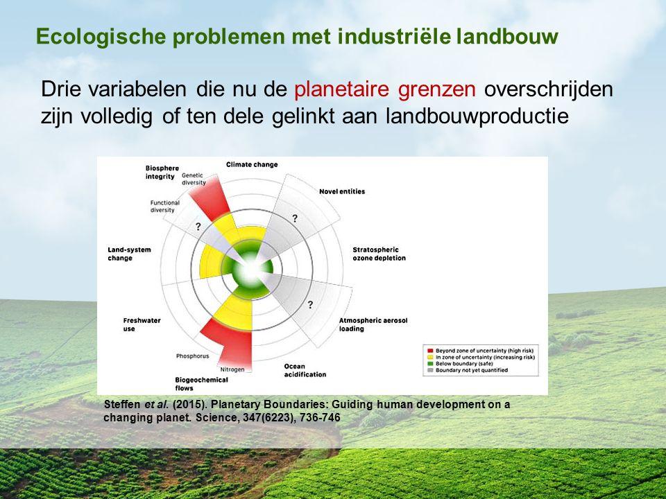 Ecologische problemen met industriële landbouw Drie variabelen die nu de planetaire grenzen overschrijden zijn volledig of ten dele gelinkt aan landbo