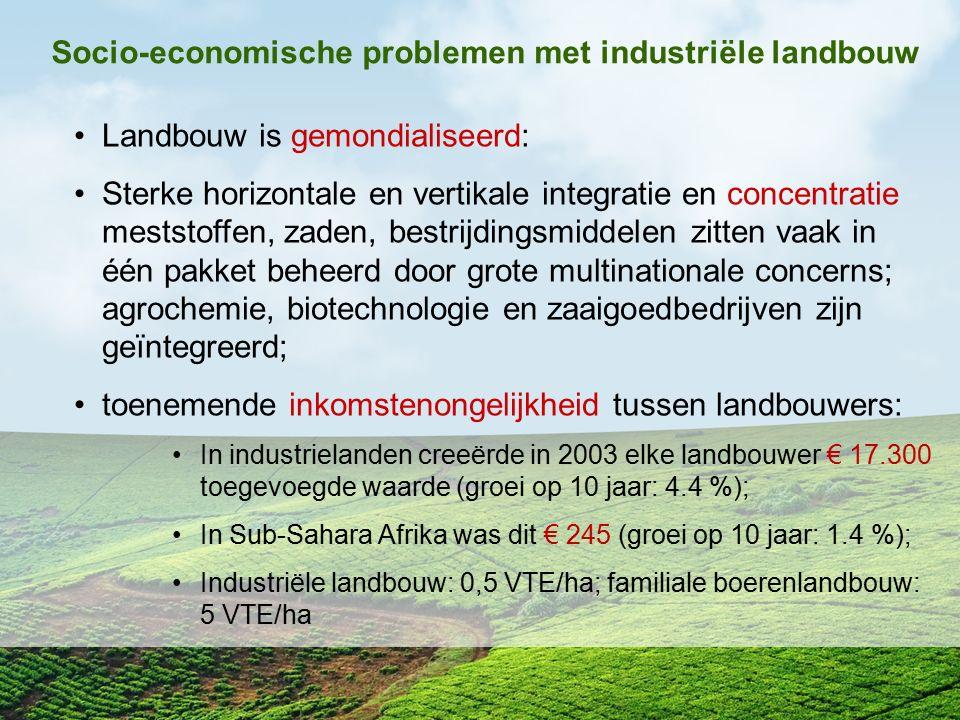 Socio-economische problemen met industriële landbouw Landbouw is gemondialiseerd: Sterke horizontale en vertikale integratie en concentratie meststoff