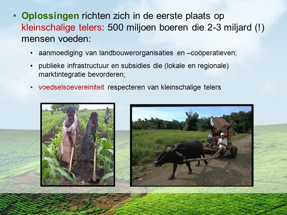 Oplossingen richten zich in de eerste plaats op kleinschalige telers: 500 miljoen boeren die 2-3 miljard (!) mensen voeden: aanmoediging van landbouwe