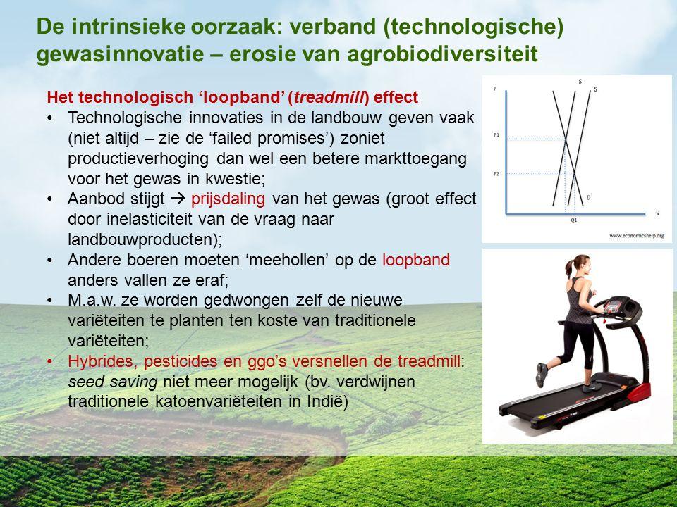 De intrinsieke oorzaak: verband (technologische) gewasinnovatie – erosie van agrobiodiversiteit Het technologisch 'loopband' (treadmill) effect Techno
