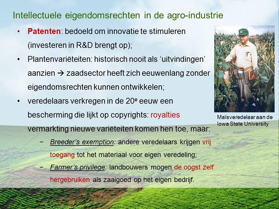 Intellectuele eigendomsrechten in de agro-industrie Patenten: bedoeld om innovatie te stimuleren (investeren in R&D brengt op); Plantenvariëteiten: hi