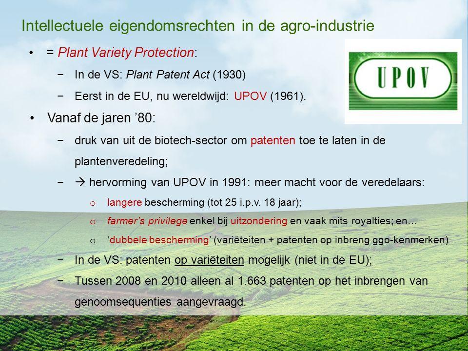 Intellectuele eigendomsrechten in de agro-industrie = Plant Variety Protection: −In de VS: Plant Patent Act (1930) −Eerst in de EU, nu wereldwijd: UPO