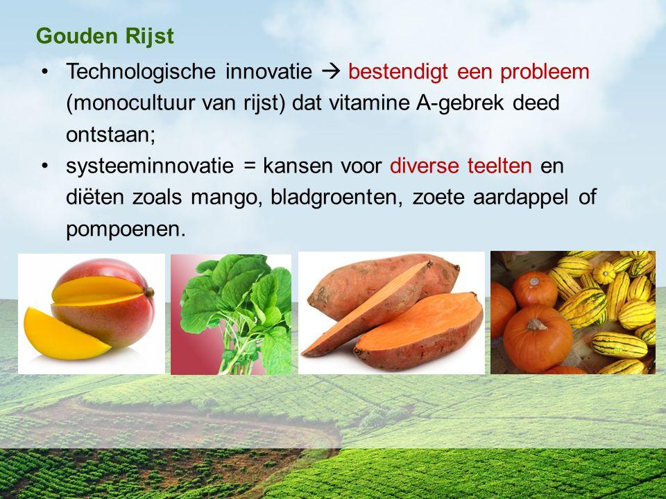 Gouden Rijst Technologische innovatie  bestendigt een probleem (monocultuur van rijst) dat vitamine A-gebrek deed ontstaan; systeeminnovatie = kansen