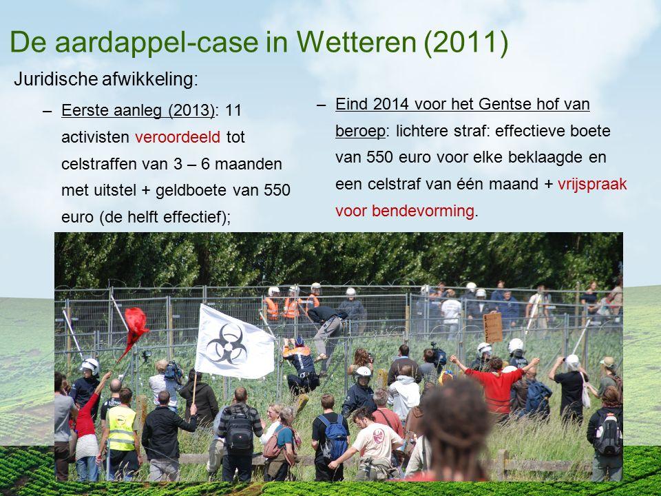 De aardappel-case in Wetteren (2011) Juridische afwikkeling: –Eerste aanleg (2013): 11 activisten veroordeeld tot celstraffen van 3 – 6 maanden met ui