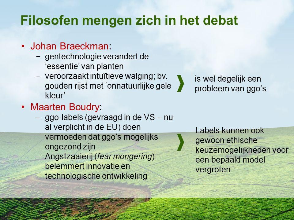 Filosofen mengen zich in het debat Johan Braeckman: −gentechnologie verandert de 'essentie' van planten −veroorzaakt intuïtieve walging; bv. gouden ri