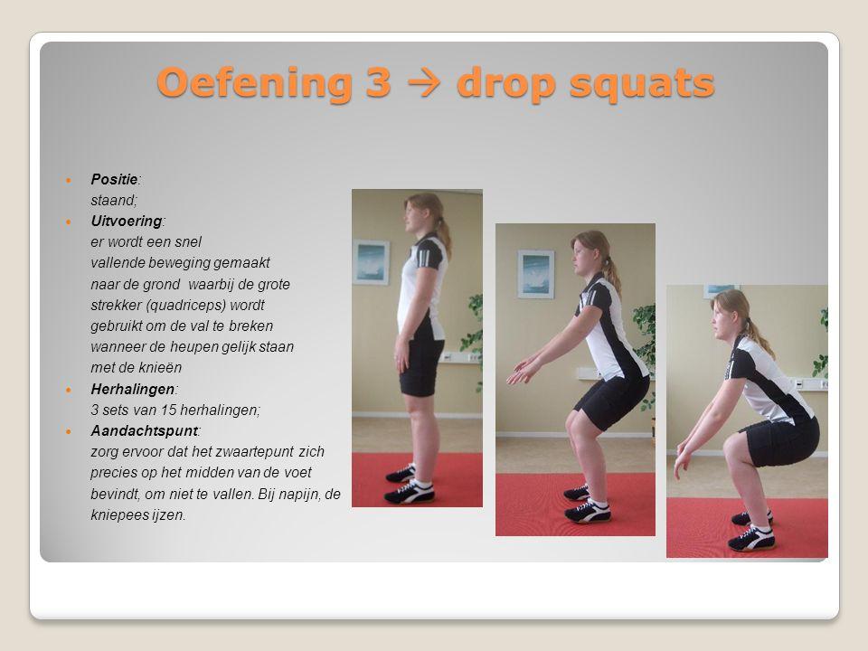 Oefening 3  drop squats Positie: staand; Uitvoering: er wordt een snel vallende beweging gemaakt naar de grond waarbij de grote strekker (quadriceps)