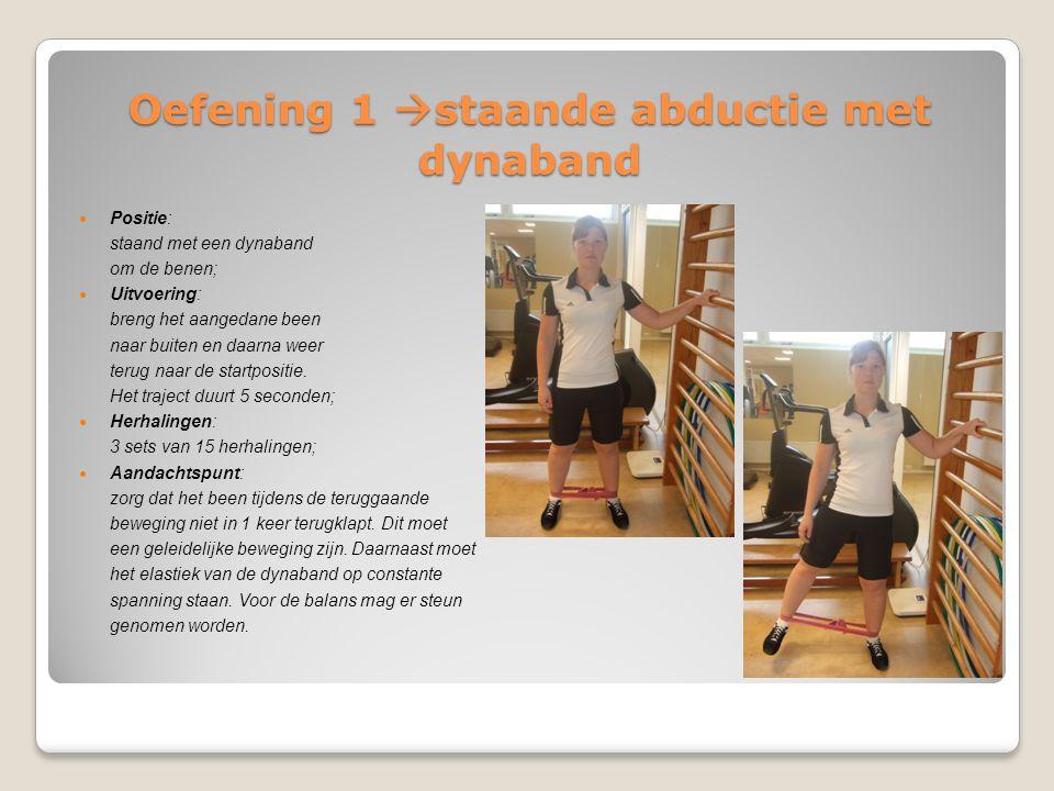 Oefening 1  staande abductie met dynaband Positie: staand met een dynaband om de benen; Uitvoering: breng het aangedane been naar buiten en daarna we