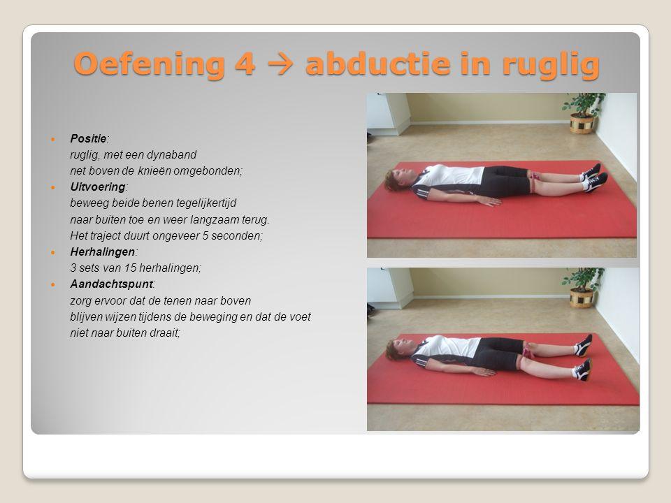 Oefening 4  abductie in ruglig Positie: ruglig, met een dynaband net boven de knieën omgebonden; Uitvoering: beweeg beide benen tegelijkertijd naar b