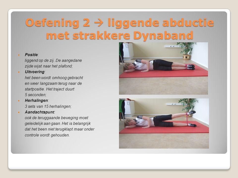Oefening 2  liggende abductie met strakkere Dynaband Positie: liggend op de zij. De aangedane zijde wijst naar het plafond; Uitvoering: het been word