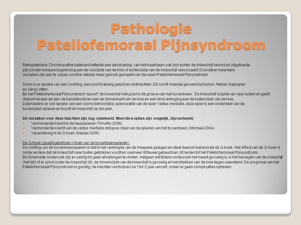 Pathologie Patellofemoraal Pijnsyndroom Retropatellaire Chondropathie betekend letterlijk een aandoening van het kraakbeen wat zich achter de knieschi