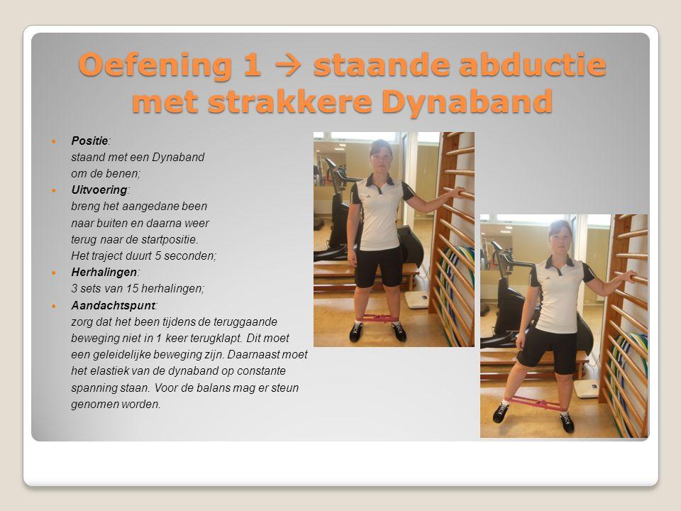 Oefening 1  staande abductie met strakkere Dynaband Positie: staand met een Dynaband om de benen; Uitvoering: breng het aangedane been naar buiten en