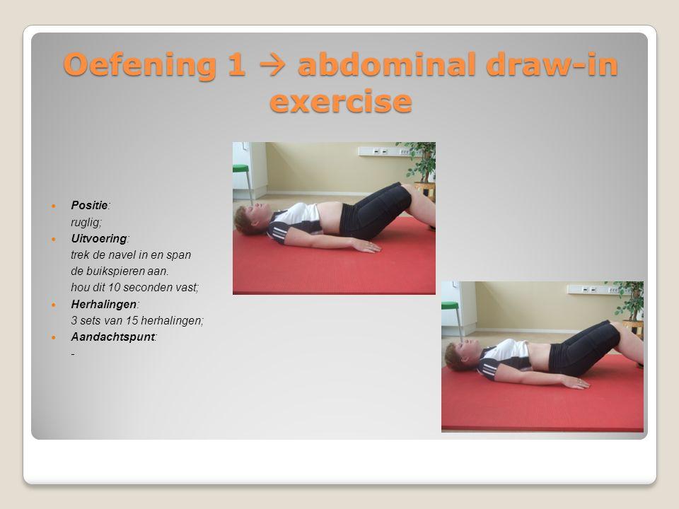 Oefening 1  abdominal draw-in exercise Positie: ruglig; Uitvoering: trek de navel in en span de buikspieren aan. hou dit 10 seconden vast; Herhalinge