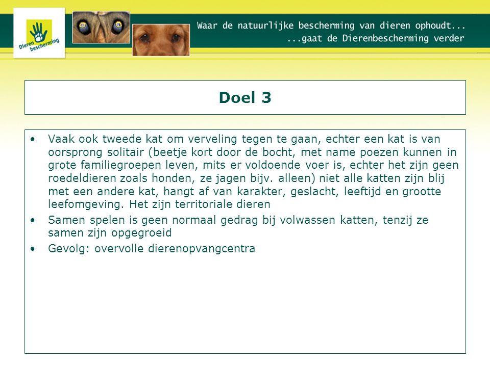 Programma Aanschaf Socialisatie Leren Filmpjes/puzzelvoeren Houdingen herkennen Herconditioneren (d.w.z.