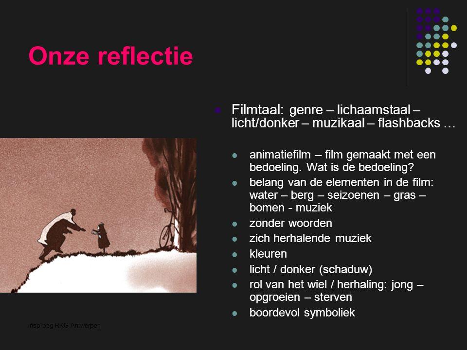 insp-beg RKG Antwerpen Onze reflectie Filmtaal: genre – lichaamstaal – licht/donker – muzikaal – flashbacks … animatiefilm – film gemaakt met een bedo