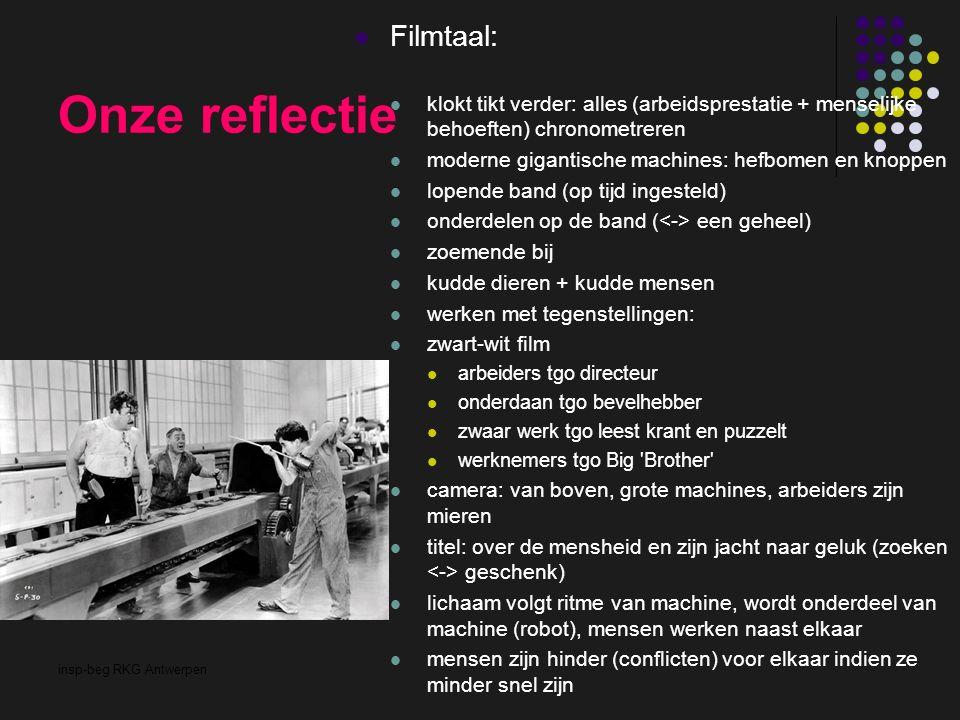 insp-beg RKG Antwerpen Onze reflectie Filmtaal: klokt tikt verder: alles (arbeidsprestatie + menselijke behoeften) chronometreren moderne gigantische