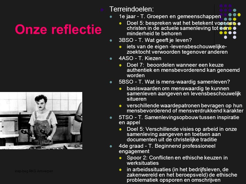 insp-beg RKG Antwerpen Onze reflectie Terreindoelen: 1e jaar - T. Groepen en gemeenschappen Doel 5: bespreken wat het betekent voor een christen in de