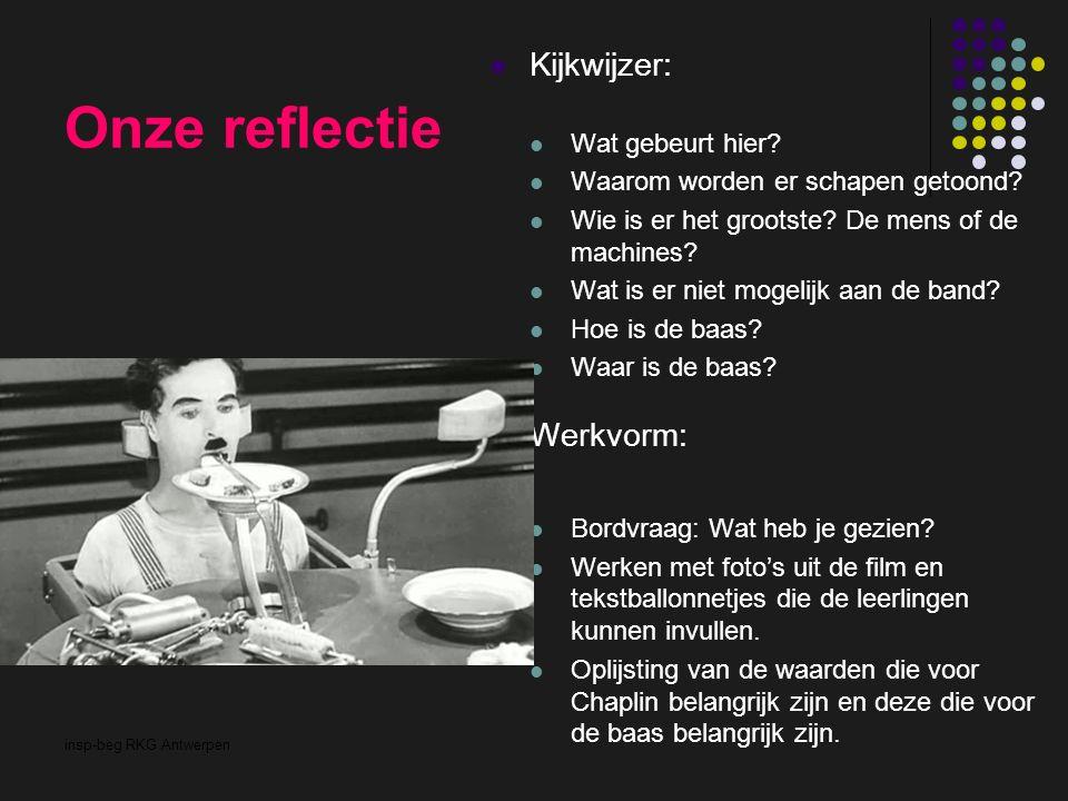 insp-beg RKG Antwerpen Onze reflectie Kijkwijzer: Wat gebeurt hier? Waarom worden er schapen getoond? Wie is er het grootste? De mens of de machines?