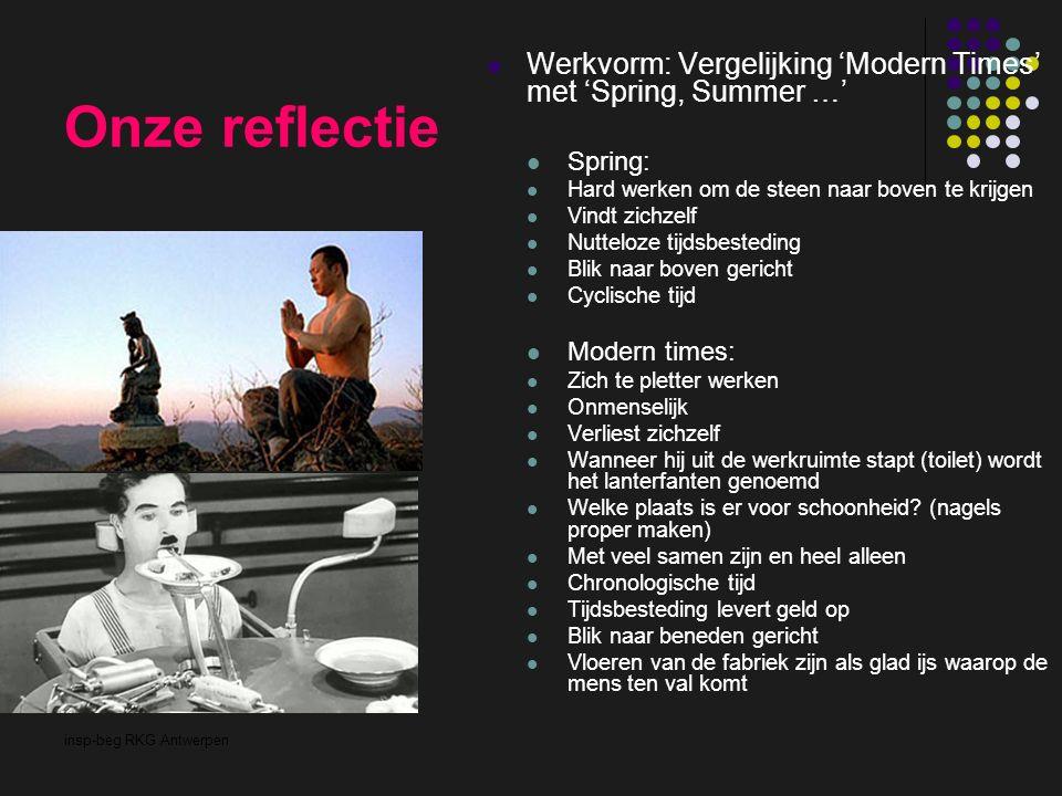 insp-beg RKG Antwerpen Onze reflectie Werkvorm: Vergelijking 'Modern Times' met 'Spring, Summer …' Spring: Hard werken om de steen naar boven te krijg