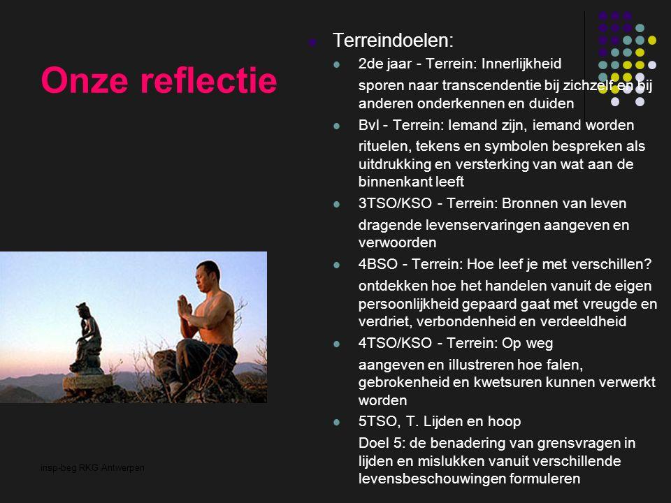 insp-beg RKG Antwerpen Onze reflectie Terreindoelen: 2de jaar - Terrein: Innerlijkheid sporen naar transcendentie bij zichzelf en bij anderen onderkennen en duiden Bvl - Terrein: Iemand zijn, iemand worden rituelen, tekens en symbolen bespreken als uitdrukking en versterking van wat aan de binnenkant leeft 3TSO/KSO - Terrein: Bronnen van leven dragende levenservaringen aangeven en verwoorden 4BSO - Terrein: Hoe leef je met verschillen.