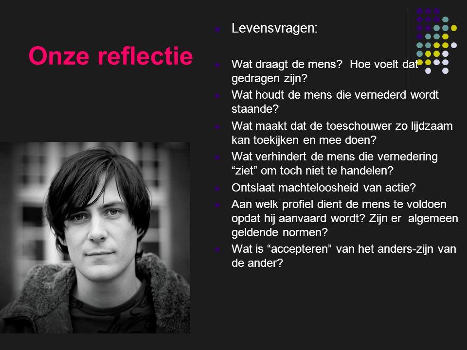 insp-beg RKG Antwerpen Onze reflectie Levensvragen: Wat draagt de mens? Hoe voelt dat gedragen zijn? Wat houdt de mens die vernederd wordt staande? Wa