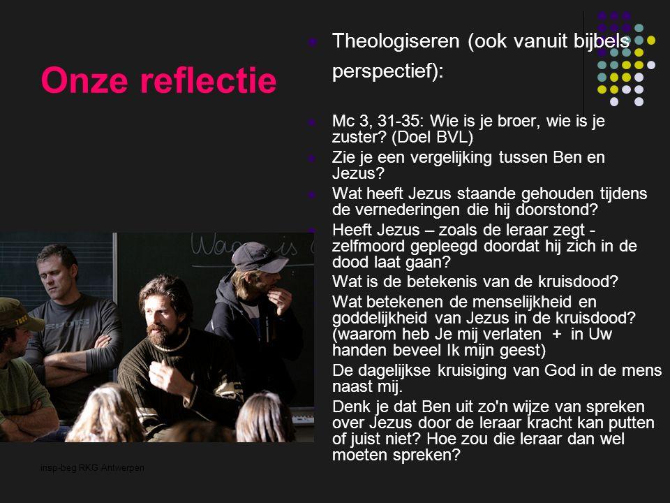insp-beg RKG Antwerpen Onze reflectie Theologiseren (ook vanuit bijbels perspectief): Mc 3, 31-35: Wie is je broer, wie is je zuster? (Doel BVL) Zie j