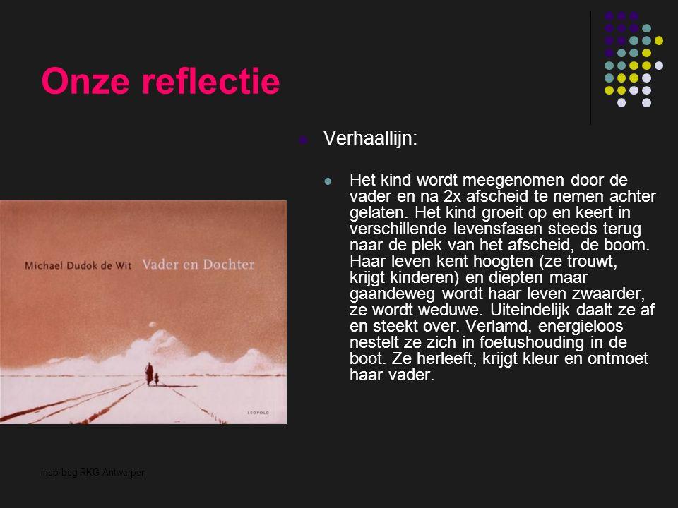 insp-beg RKG Antwerpen Onze reflectie Verhaallijn: Het kind wordt meegenomen door de vader en na 2x afscheid te nemen achter gelaten. Het kind groeit