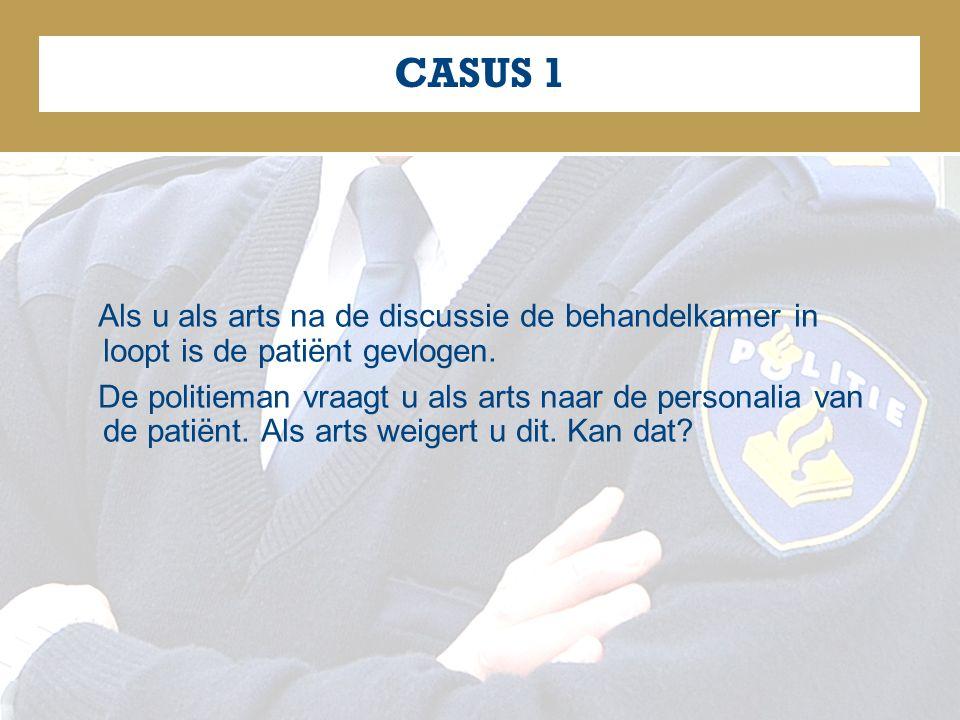 CASUS 1 Als u als arts na de discussie de behandelkamer in loopt is de patiënt gevlogen.