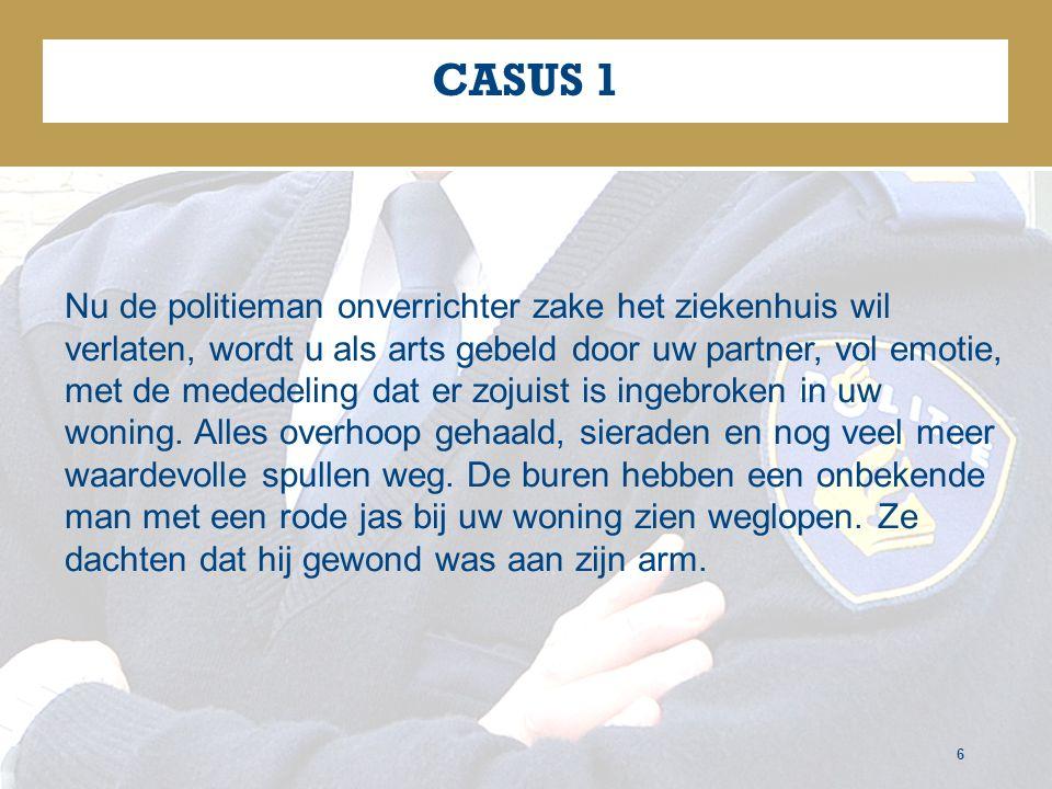 CASUS 1 6 Nu de politieman onverrichter zake het ziekenhuis wil verlaten, wordt u als arts gebeld door uw partner, vol emotie, met de mededeling dat er zojuist is ingebroken in uw woning.