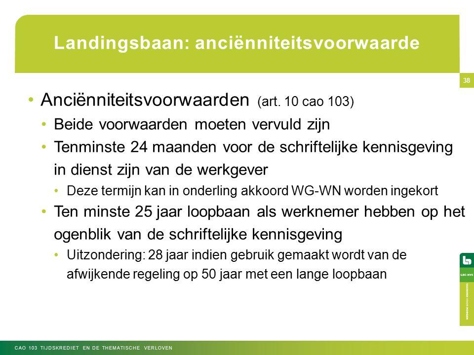 Landingsbaan: anciënniteitsvoorwaarde Anciënniteitsvoorwaarden (art.