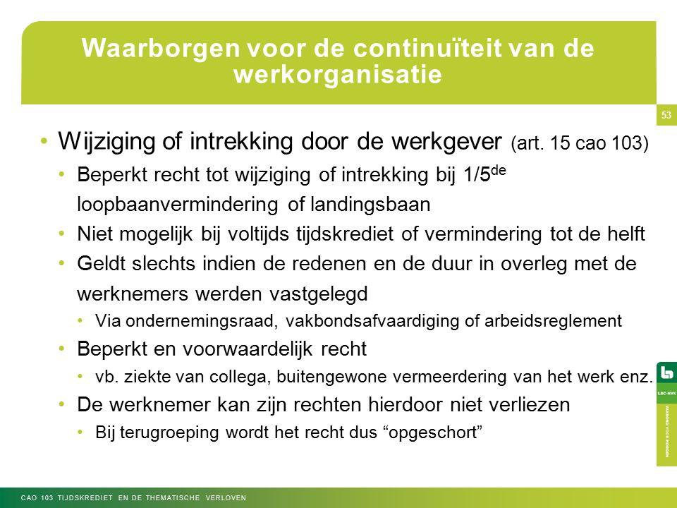 Waarborgen voor de continuïteit van de werkorganisatie Wijziging of intrekking door de werkgever (art.