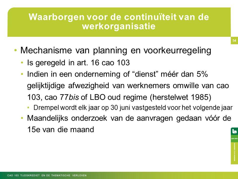 Waarborgen voor de continuïteit van de werkorganisatie Mechanisme van planning en voorkeurregeling Is geregeld in art.