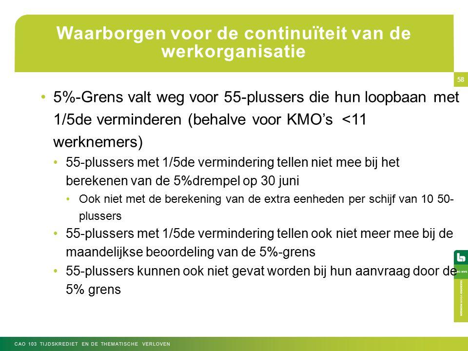 Waarborgen voor de continuïteit van de werkorganisatie 5%-Grens valt weg voor 55-plussers die hun loopbaan met 1/5de verminderen (behalve voor KMO's <11 werknemers) 55-plussers met 1/5de vermindering tellen niet mee bij het berekenen van de 5%drempel op 30 juni Ook niet met de berekening van de extra eenheden per schijf van 10 50- plussers 55-plussers met 1/5de vermindering tellen ook niet meer mee bij de maandelijkse beoordeling van de 5%-grens 55-plussers kunnen ook niet gevat worden bij hun aanvraag door de 5% grens CAO 103 TIJDSKREDIET EN DE THEMATISCHE VERLOVEN 58