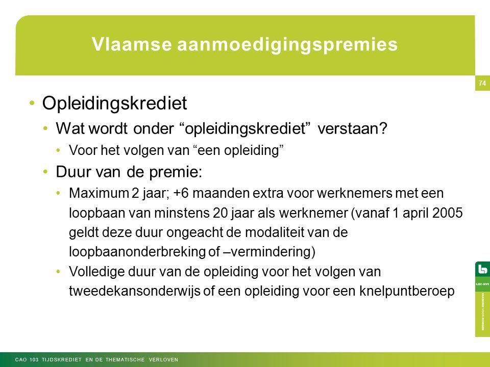 Vlaamse aanmoedigingspremies Opleidingskrediet Wat wordt onder opleidingskrediet verstaan.
