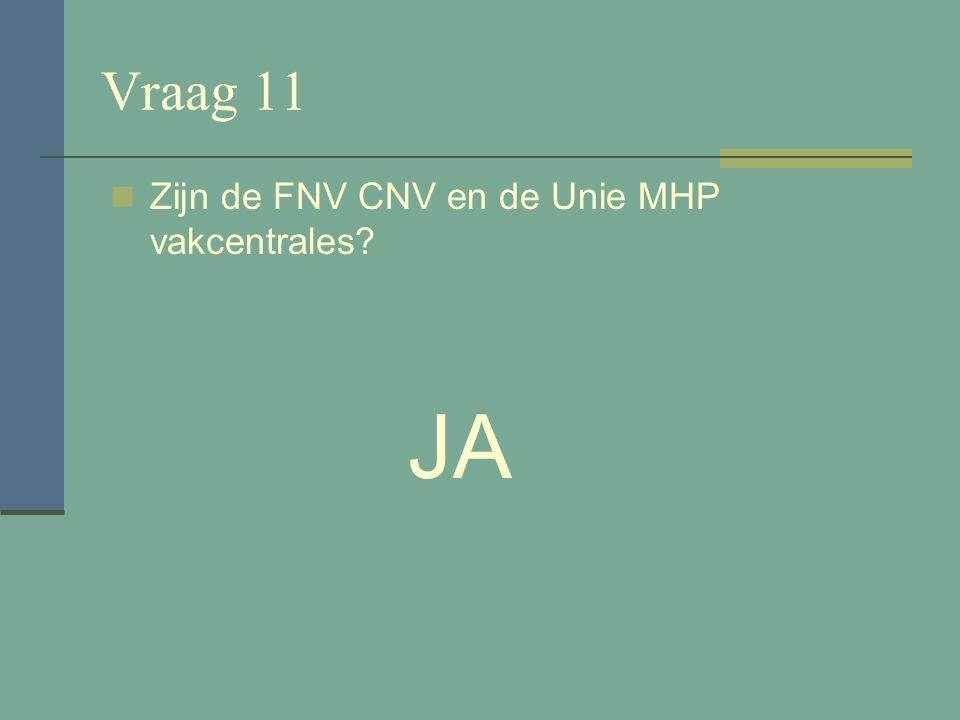 Vraag 10 FNV betekend Federatie Nationale Vakbeweging? NEE