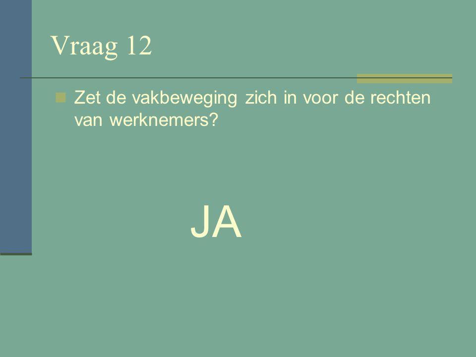 Vraag 11 Zijn de FNV CNV en de Unie MHP vakcentrales? JA